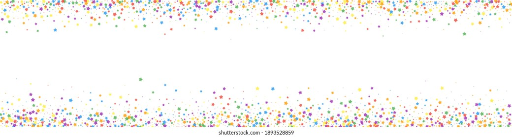 Festive exceptional confetti. Celebration stars. Childish bright stars on white background. Actual festive overlay template. Panoramic vector background.