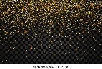 Festive explosion of confetti. Gold glitter background for the card, invitation. Holiday Decorative element. Illustration of falling shiny particles and stars isolated on transparent background.