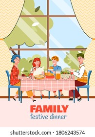 Festive family dinner - cartoon poster with parent and children eating together on summer day. Vector illustration of happy people at home having a meal.