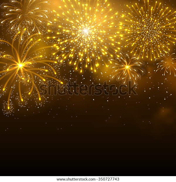 Festive firework bursting in various shapes and golden colors sparkling against black night background. Abstract vector illustration.