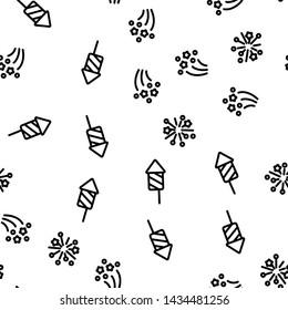 Festive Firework Light Seamless Pattern Vector. Rocket Petard And Firework Stars Bright Decoration Monochrome Texture Icons. New Year Or Birthday Celebration Carnival Template Flat Illustration