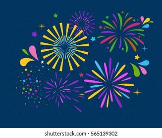 Festive Firework Salute Burst on Blue Background