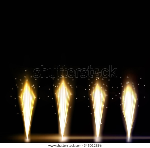 Festive Firework Salute Burst on Black Background. Collection of Colorful vector fireworks, sparklers, salute and petards explosions - design elements. Festival and event, celebrate and party.
