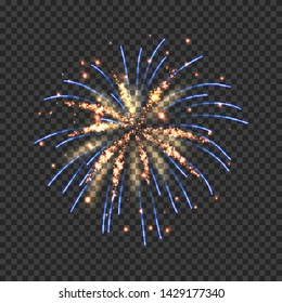 Festive fireworks with bright golden and blue sparks. Colorful pyrotechnics show element. Realistic single firework flash isolated on transparent background. Fantastic light performance in night sky.