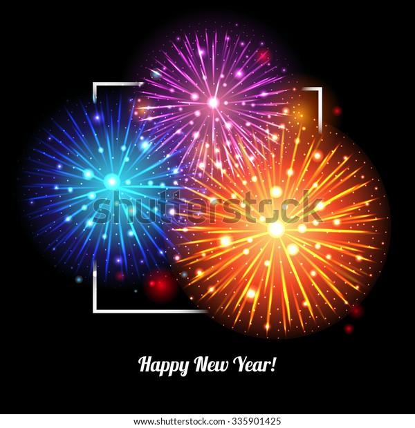 Festive Fireworks. Holidays Background. Night sky, Celebrating Vector Illustration.