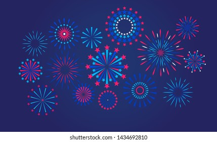 Festive fireworks on a night background. Vector illustration