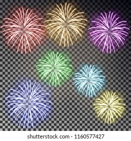 Festive fireworks set. Christmas firecracker light effect isolated on dark background. Firework decoration for New Year, Party, Birthday. Diwali salute. Vector illustration.