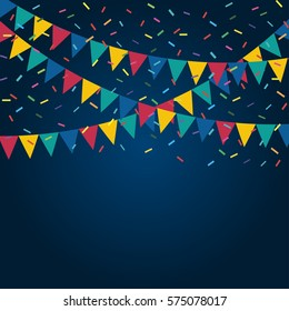 Festive flags and confetti. Carnival party. Garland of colour flags and confetti. Holiday background