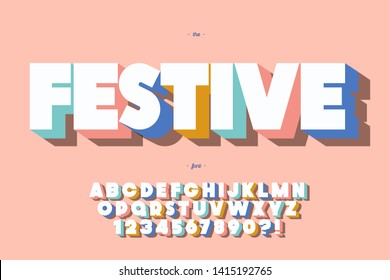 Festive font 3d bold style cute color for summer party poster, t shirt, flier, decoration, card, sale banner, printing on fabric, industrial. Cool typeface. Trendy alphabet. Vector 10 eps