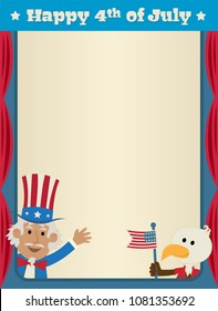 Festive fourth of July blank sign with uncle Sam and patriotic eagle. Eps10