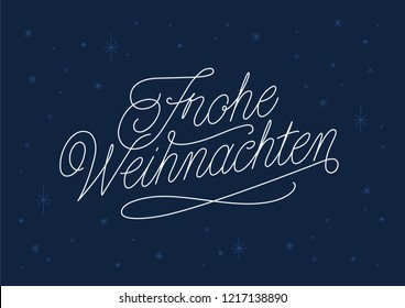 festive Frohe Weihnachten Calligaphy Merry Christmas in Germany