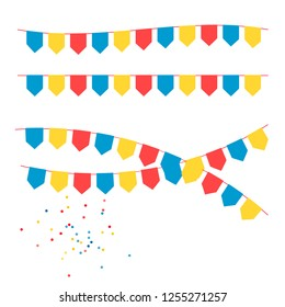 Festive garland of colorful flags.Party Background with Flags Vector Illustration.