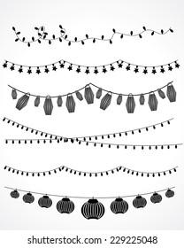 festive garland lights and Chinese lanterns. vector set