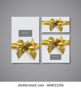 Festive gift card, flyer and brochure design template. Set of elements for holiday package or invitation design. Vector illustration of stationery with golden bow, ribbon and geometric pattern