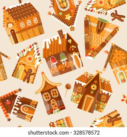 Festive gingerbread houses. Christmas tradition. Seamless background pattern. Vector illustration