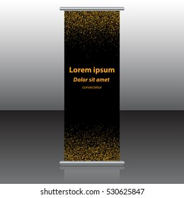 Festive glamour roll up black banner with gold glitters, front view display templates,   realistic mockup, used for ad sales information, New Year and Christmas shop greeting, vector illustration