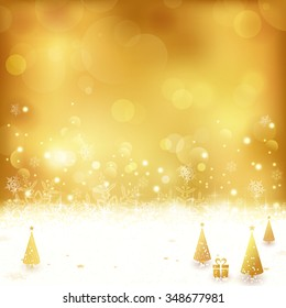 Festive gold background with out of focus light dots, stars, snowflakes, Christmas trees and gift. Light effects give it a festive and dreamy feeling.