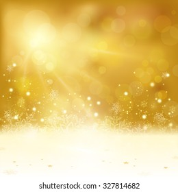 Festive golden Christmas background with stars snowflakes, and copy space. Out of focus light dots and light effects with light from above give it a festive and dreamy feeling.