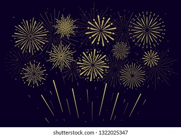 Festive golden fireworks on black background. Vector illustration. Flat design. EPS 10.