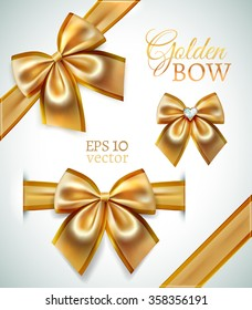 Festive golden realistic vector bows isolated on white background