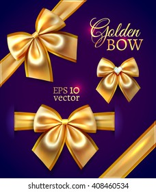 Festive golden realistic vector bows isolated on dark purple background