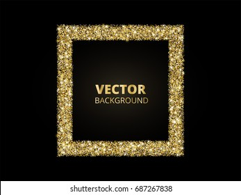 Festive golden sparkle background. Glitter border, rectangle frame. Black and gold vector dust. Great for valentine, christmas and birthday cards, wedding invitations, party posters.