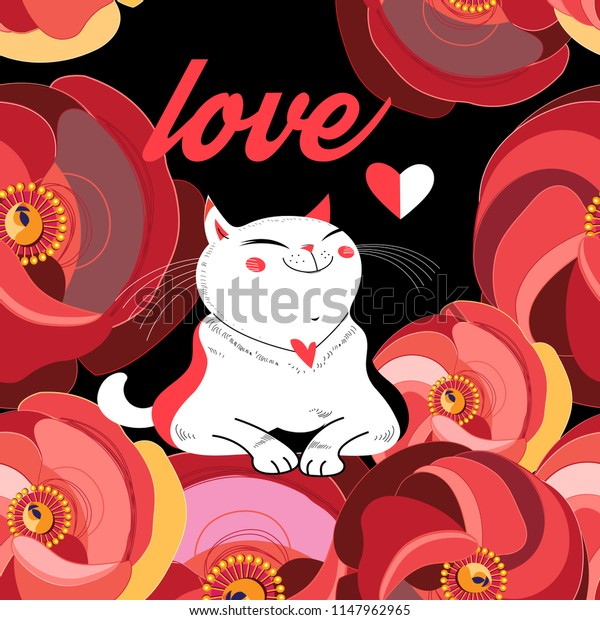 Festive greeting card with a beloved cat among flowers.