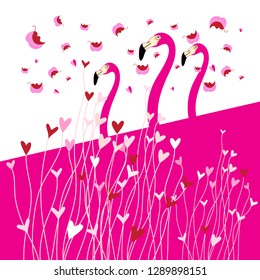 Festive greeting card in love with flamingo birds among hearts on a light background