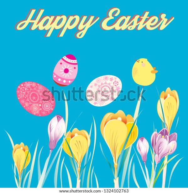 Festive greeting Easter card with eggs and chicken among crocus flowers