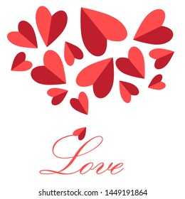 Festive greeting vector card for Valentine's Day with red hearts on a white background. Template for Valentine's Day design for poster or web page