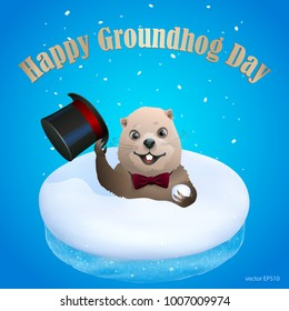 Festive groundhog look out from snowdrift and greets by taking off his hat. Cartoon woodchuck sits in the 3d realistic piece of snow with a cut of ice. Vector blue greeting card Happy Groundhog Day.