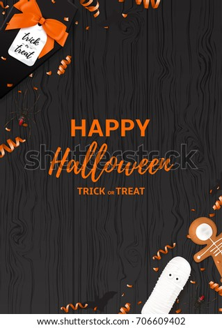 festive halloween flyer template top view stock vector royalty free