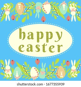 Festive happy Easter card with the inscription, decorated with doodles, egg, rabbit, on a blue background