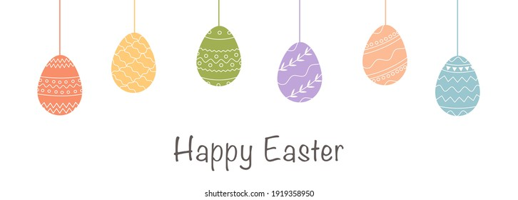 Festive horizontal banner template. Trendy geometric pattern on Easter Eggs in flat style. Raw of decorative eggs with various ornaments. Vector poster for religious holiday with caption Happy Easter.