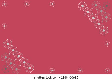 Festive horizontal Christmas background, hand drawn design with silver snowflakes on a dark pink background, copy space for your text. Vector illustration, a template for decorating a card or a laptop