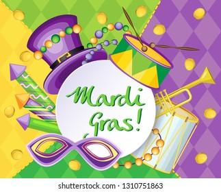 Festive horizontal vector illustration for Mardi Gras holiday. Tricolor gradient and rhombuses on background.