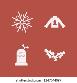 festive icon. festive vector icons set sweater with christmas tree, holly berry, happy halloween and snowflake
