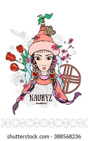 Festive illustration, holiday Kazakhstan, Nauryz, girl vector, kazakh, decoration, oriental, floral, hat, vector, sign, kazakhstan