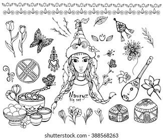 Festive illustration, holiday Kazakhstan, Nauryz, girl vector, big set, kazakh, decoration, oriental, floral, hat, vector, sign, kazakhstan