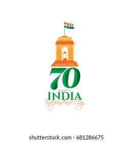 festive illustration of independence day in India celebration on August 15. vector design elements of the national day. holiday graphic icons. National day. 70th anniversary of the foundation