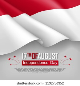 Festive illustration of Independence day of Indonesia. National traditional holiday celebrated on August 17. Background with realistic waving indonesian flag. Indonesian patriotic vector greeting card