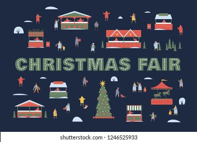 Festive illustration with walking people, New Year tree, market stalls and carousel. Happy winter holidays. Vector colorful seasonal images.