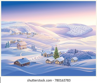 Festive illustration with winter village and Christmas trees. Evening landscape with hills and forests in the snow.