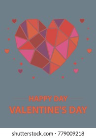 Festive inscription red on a blue background Valentine's Day. Happy day.Geometric heart and little red hearts Color vector illustration for signs, postcards.