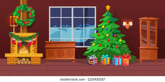 Festive interior of Christmas room on eve happy new year. Christmas tree, decorative wreath, holiday gifts, burning fireplace, snowy winter outside window. Vector illustration, greeting card template.