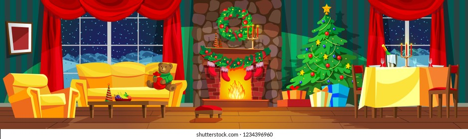 Festive interior of living room, new year. Christmas tree, gifts above fireplace for new year, festive table, beautiful furniture, fireplace, Christmas wreath, decorations. Vector illustration.