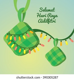Festive and lights vector illustrations/ Hari Raya Aidilfitri greetings/ Season greetings/ Rice dumplings/ Islamic celebrations