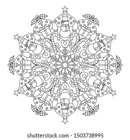 Festive Mandala Style Coloring Book Page for relative therapy.
