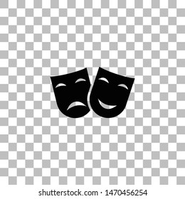 Festive masks. Black flat icon on a transparent background. Pictogram for your project