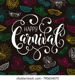 Festive Masqeurade Party invitation template. Happy carnival greeting card with venetian mask pattern on dark background. Brasil carnaval party banner with ornamental word and colorful masqeurade mask